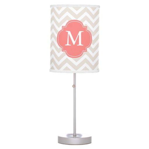 Beige & Coral Zigzags Pattern Monogrammed Desk Lamp