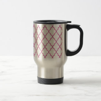 Beige Cream And Hot Pink Moroccan Trellis Pattern Coffee Mugs
