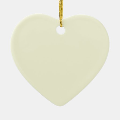 Beige Cream  Elegant Fashion Color Double-Sided Heart Ceramic Christmas Ornament