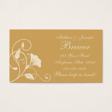 Professional Business Beige & Cream Floral Change of Address Cards
