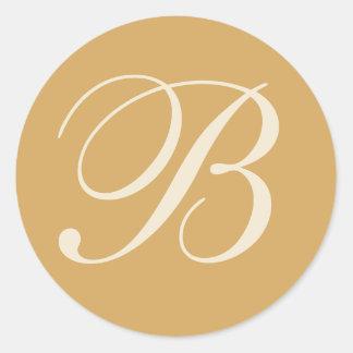 Beige & Cream Monogrammed Wedding Envelope Seals Classic Round Sticker