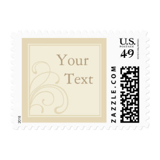 Beige, Cream or Ecru Postage Stamp w/ Custom Text Postage Stamps