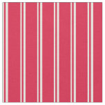 [ Thumbnail: Beige & Crimson Colored Stripes Fabric ]