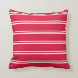 [ Thumbnail: Beige & Crimson Colored Stripes Throw Pillow ]