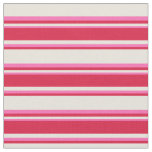 [ Thumbnail: Beige, Crimson & Hot Pink Stripes/Lines Pattern Fabric ]