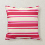 [ Thumbnail: Beige, Crimson & Hot Pink Stripes/Lines Pattern Throw Pillow ]