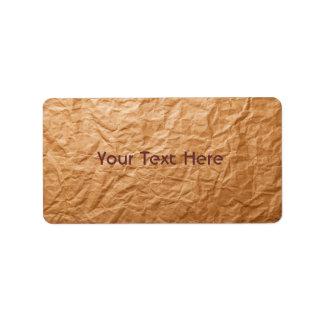 Beige Crumpled Paper Label