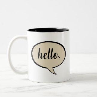 Beige Customizable Speech Bubble Two-Tone Coffee Mug