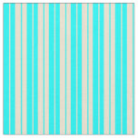 [ Thumbnail: Beige & Cyan Colored Stripes Fabric ]