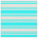 [ Thumbnail: Beige & Cyan Colored Stripes/Lines Pattern Fabric ]