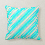 [ Thumbnail: Beige & Cyan Colored Stripes/Lines Pattern Pillow ]