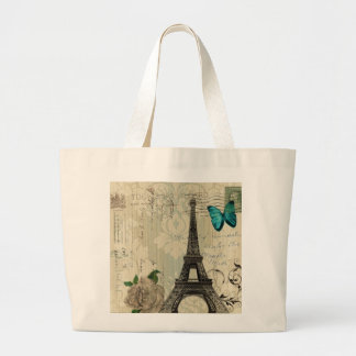 beige Damask butterfly rose Paris Eiffel Tower Large Tote Bag