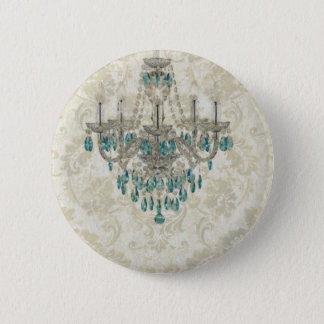 beige Damask French Country blue Chandelier Pinback Button