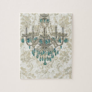 beige Damask French Country Vintage Chandelier Jigsaw Puzzle