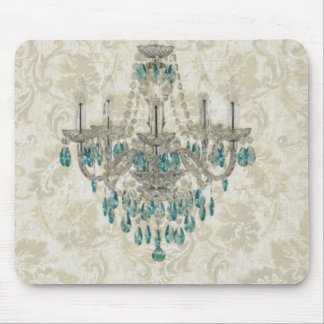 beige Damask French Country Vintage Chandelier Mouse Pad