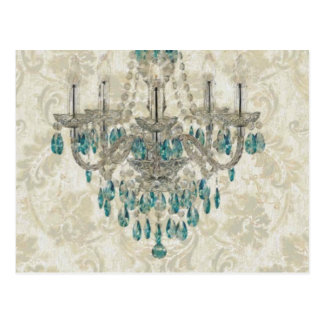 beige Damask French Country Vintage Chandelier Postcard