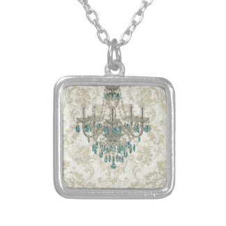 beige Damask French Country Vintage Chandelier Silver Plated Necklace