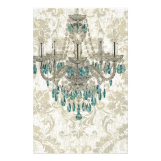 beige Damask French Country Vintage Chandelier Stationery