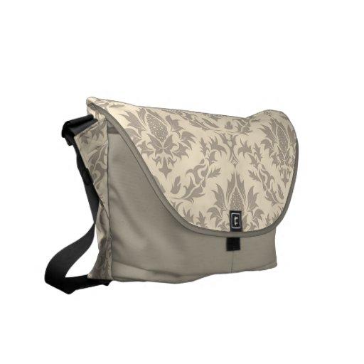 Beige Damask Pattern Messenger Bag