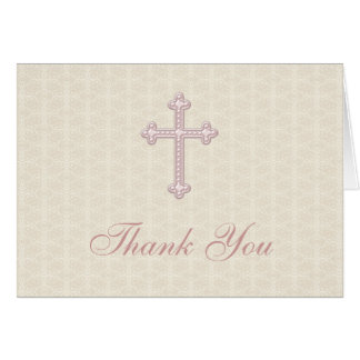 Beige Damask Pink Cross Thank You Stationery Note Card