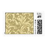 Beige Damask Scroll Postage Stamps