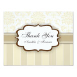 Beige Damask Stripe Wedding Thank You Card