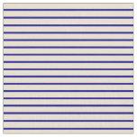 [ Thumbnail: Beige & Dark Blue Lined Pattern Fabric ]