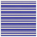 [ Thumbnail: Beige & Dark Blue Stripes Fabric ]
