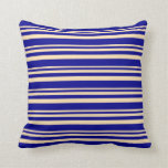 [ Thumbnail: Beige & Dark Blue Stripes Throw Pillow ]