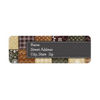 Beige, Dark Brown, and Olive Green Quilt look Label