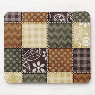 Beige, Dark Brown, and Olive Green Quilt look Mouse Pad