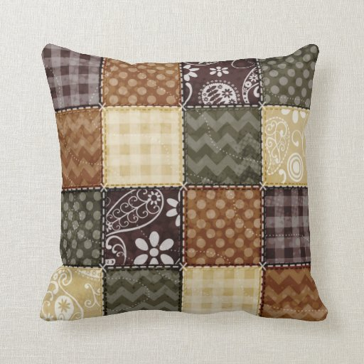 Beige, Dark Brown, and Olive Green Quilt look Throw Pillow Zazzle