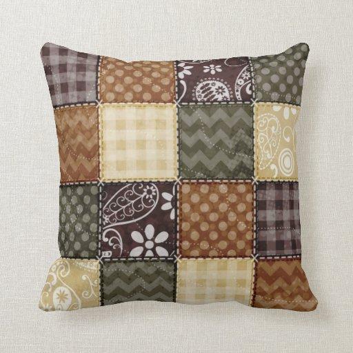 Dark Brown Throw Pillows : Beige, Dark Brown, and Olive Green Quilt look Throw Pillow Zazzle