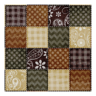 Beige, Dark Brown, and Olive Green Quilt look Poster