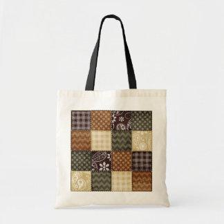 Beige, Dark Brown, and Olive Green Quilt look Tote Bag