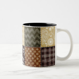 Beige, Dark Brown, and Olive Green Quilt look Two-Tone Coffee Mug