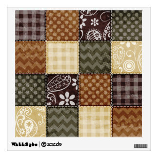 Beige, Dark Brown, and Olive Green Quilt look Wall Decal
