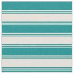 [ Thumbnail: Beige & Dark Cyan Striped Pattern Fabric ]
