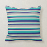 [ Thumbnail: Beige, Dark Gray, Midnight Blue & Light Sea Green Throw Pillow ]