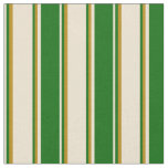 [ Thumbnail: Beige, Dark Green, and Dark Goldenrod Colored Fabric ]