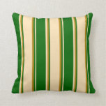 [ Thumbnail: Beige, Dark Green, and Dark Goldenrod Colored Throw Pillow ]