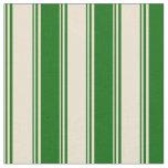 [ Thumbnail: Beige & Dark Green Colored Stripes Fabric ]
