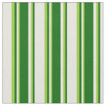 [ Thumbnail: Beige, Dark Green & Green Colored Lines Pattern Fabric ]