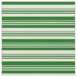 [ Thumbnail: Beige & Dark Green Lines Fabric ]
