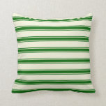 [ Thumbnail: Beige & Dark Green Lines Pattern Throw Pillow ]