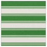 [ Thumbnail: Beige & Dark Green Stripes/Lines Pattern Fabric ]