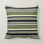 [ Thumbnail: Beige, Dark Olive Green, Dark Gray & Black Colored Throw Pillow ]