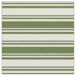 [ Thumbnail: Beige & Dark Olive Green Lined/Striped Pattern Fabric ]