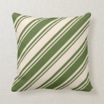 [ Thumbnail: Beige & Dark Olive Green Lined/Striped Pattern Throw Pillow ]