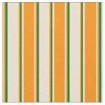 [ Thumbnail: Beige, Dark Orange, and Dark Green Colored Lines Fabric ]